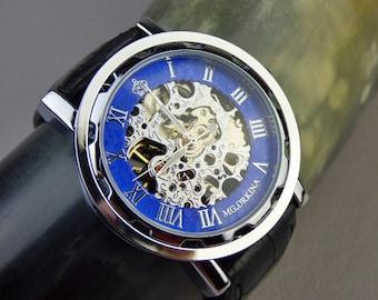 Steampunk Men's Watch, Silver Blue & Black Mechanical Watch, Black Leather Wristband,  Engraving Options - Item MWA69-07ok