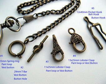 Bronze Pocket Watch Chain -10 to 15 inch watch chain - Multiple clasp ends options - Watch Accessory