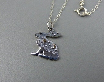 Rabbit, Moon and Star Necklace - Sterling Silver Hare Charm with Mountains, Bronze Moon & Star, Sterling Silver Cable Curb Chain, Gift Boxed