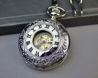 Luxury Silver Pocket Watch, Watch Chain, Mechanical Watch, Engravable, Men's Watch, Silver & Gold Watch - Item MPW903s