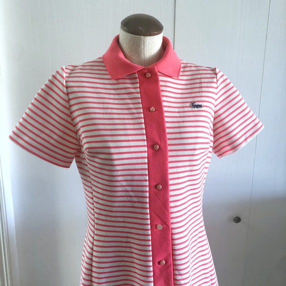 Vintage Chemise Lacoste Tennis Dress / Striped Lac