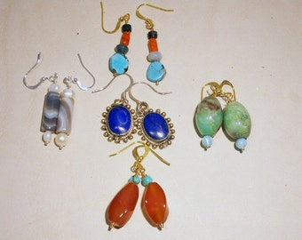 FREE SHIPPING  Bridal Party Earrings 5 pairs of genuine gemstone earrings for 20 dollars