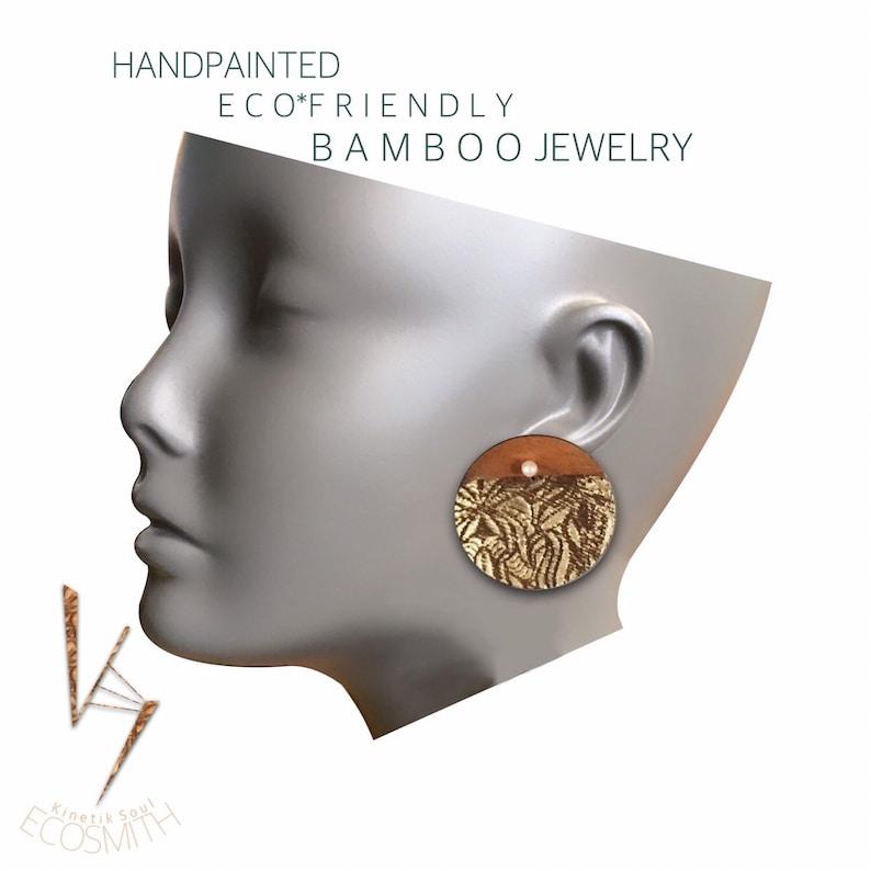Eco Bamboo floral leaf Pearl Crystal Gemstone  Earrings by image 0