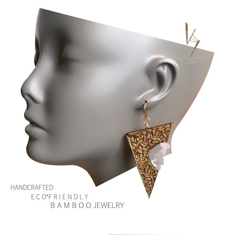 MINImalist Eco Bamboo floral leaf Crystal Gemstone  Earrings image 0