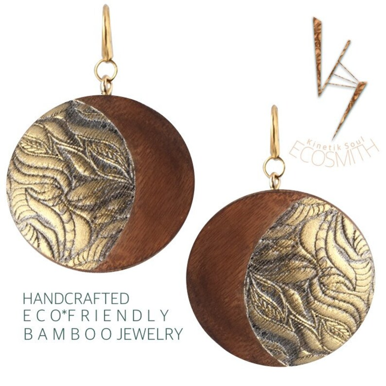 Eco Bamboo floral leaf mixed metal Earrings by Kinetik Soul 7 image 0