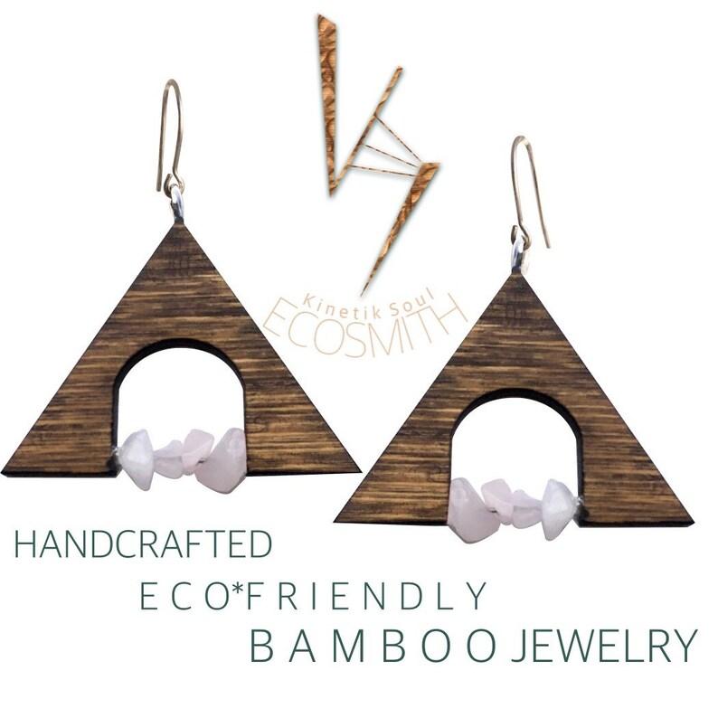 Eco Bamboo Triangle Crystal Gemstone  Earrings by Kinetik Soul image 0