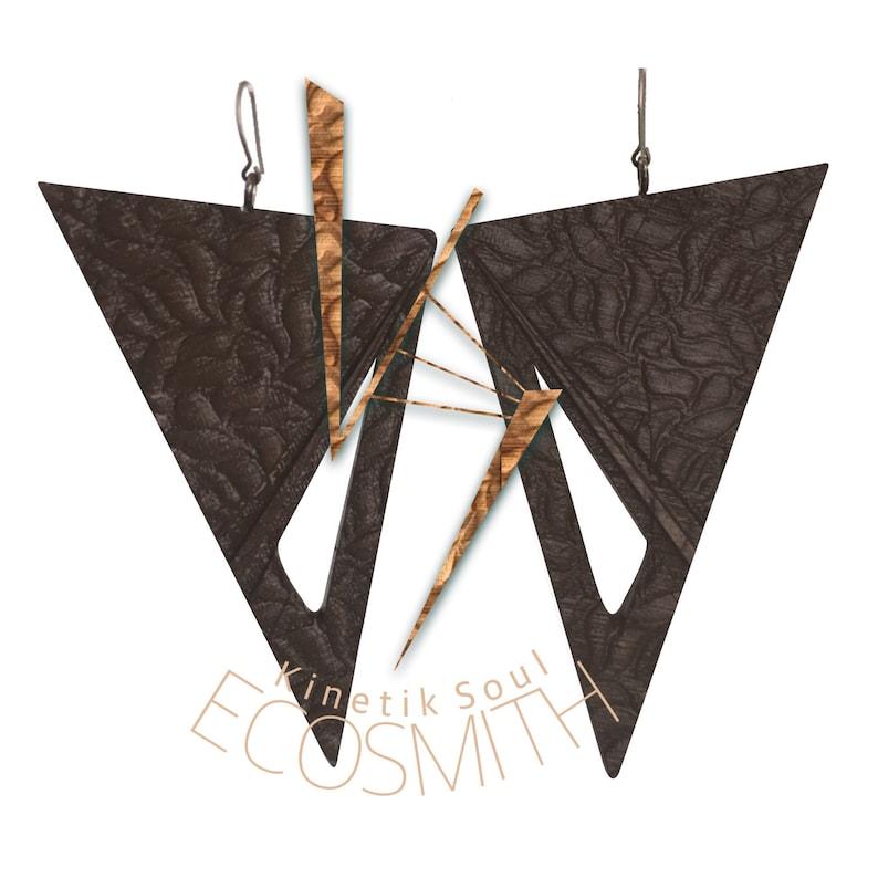 Eco Bamboo Tri Teardrop Dangle Earrings by Kinetik Soul M3 image 0