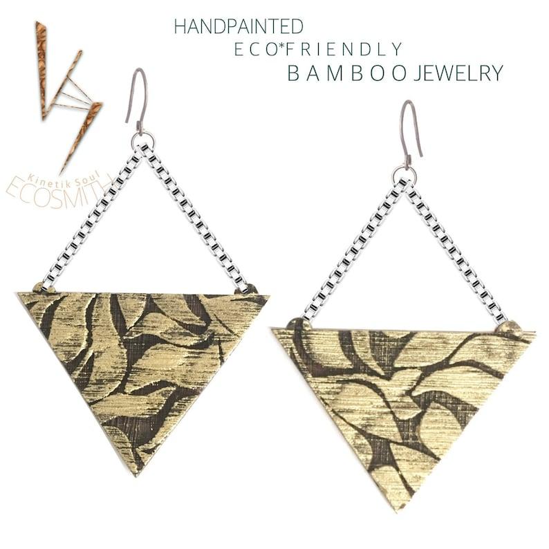 Tribal Bamboo Triangle Earrings-Very Light KSE12012 image 0