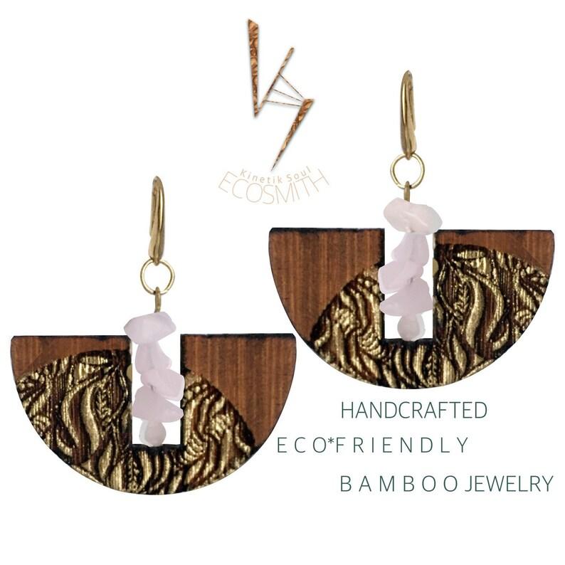 Eco Bamboo floral leaf Crystal Gemstone  Earrings by Kinetik image 0