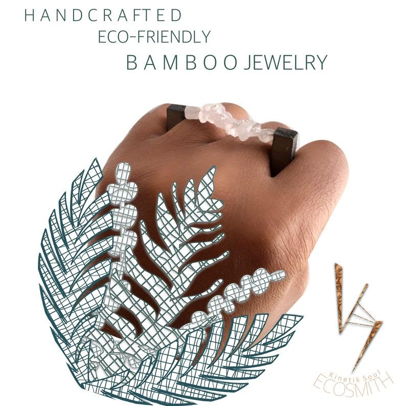 Eco Bamboo MINIMALIST Wood crystal gemstone-DOUBLE Finger image 0
