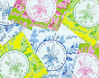 Bright Chinoiserie kitchen tags/OR stickers
