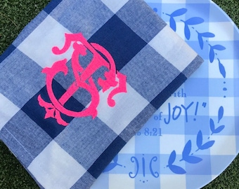 Blue Buffalo check monogram tea towel