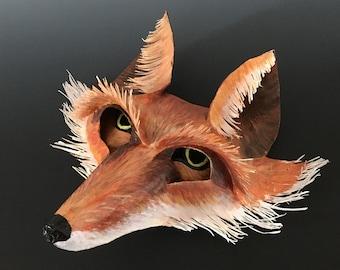 Sculpted Paper Fox Face Mask-- OOAK!
