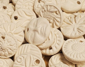 10 BISQUE Ceramic MINI CHARMS, pendants, necklace focal - White Clay - No Color - Add your own color - Affordable! Assortment mix group