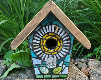 STAINED GLASS Giant Flower MOSAIC Birdhouse made to order Pick Your Color - Example is a White Flower with a Yellow center