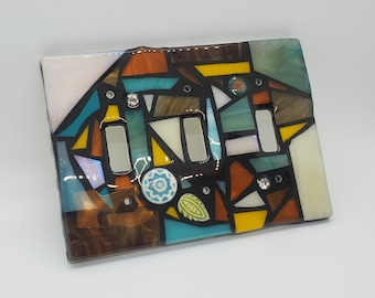 Stained glass MOSAIC Light switch cover - Brown, Amber, Aqua, Cream, & Golden Yellow - single, double, triple toggle, gfci, flapper, custom