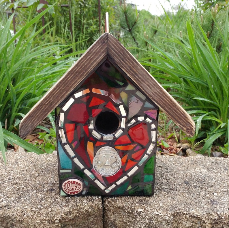 sun FRONT ONLY Mixed Media Stained Glass Mosaic Birdhouse flowers heart rainbow and more! Custom design made to order color mix