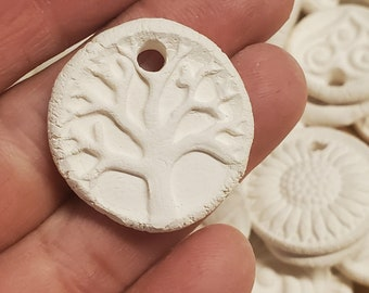 30 BISQUE Ceramic MINI CHARMS, pendants, necklace focal - White Clay - No Color - Add your own color - Affordable! Assortment mix group