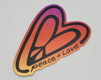 PEACE & Love vinyl ART STICKER shiny mirror finish fancy decal colorful indoor outdoor for laptop, water bottle, car, journal, flask