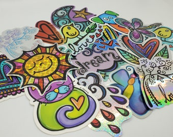 Grab bag Sticker PACK of 5 vinyl ART STICKERS decal colorful indoor outdoor for laptop, water bottle, car, journal, flask