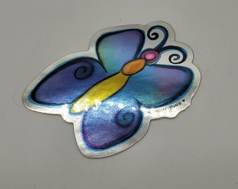 Butterfly vinyl ART STICKER shiny mirror finish fancy decal colorful indoor outdoor for laptop, water bottle, car, journal, flask