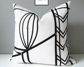 Decorative Outdoor Pillow Cover, Modern Black & White Pillow Cover, Geometric Pillow Cover, Art Deco Sunbrella Cushion Cover, Mazizmuse