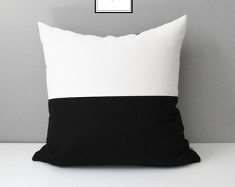 Modern Black & White Outdoor Pillow Cover, Decorative Sunbrella Pillow Cover, Black White Color Block Cushion Cover, Mazizmuse