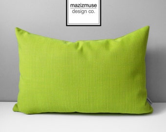 Limelite Outdoor Pillow Cover, Acid Green Pillow Cover, Modern Throw Pillow Case, Decorative Lime Green Sunbrella Cushion Cover, Mazizmuse