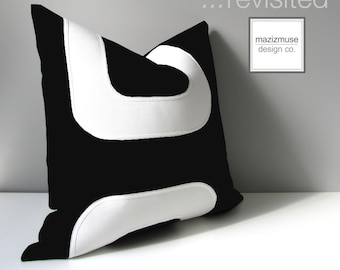 Black & White Outdoor Pillow Cover, Mid Century Modern, Decorative Throw Pillow Cover, Geometric Sunbrella Pillow, Cushion Cover, Mazizmuse