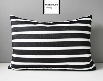 Pair of TWO Black & White Outdoor Pillow Covers, Decorative Striped Pillow Cover, Modern Pillow Cover, Tuxedo Stripe Sunbrella Cushion Cover
