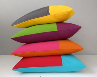 Colorful Decorative Outdoor Pillow Cover, Modern Yellow Color Block, Throw Pillow Cover, Red Blue Green Purple, Grey Sunbrella Cushion Cover