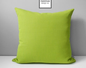 Acid Green Outdoor Pillow Cover, Decorative Pillow Cover, Modern Pillow Cover, Limelite Sunbrella, Green Cushion Cover, Mazizmuse