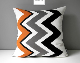 Orange Chevron Pillow Cover, Modern Outdoor Sunbrella Pillow Cover, Decorative Black White Geometric Pillow Cover, Cushion Cover, Mazizmuse