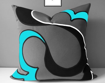 Modern Blue & Grey Outdoor Pillow Cover, Decorative Turquoise Black and White Pillow Cover, Aruba Blue Sunbrella Cushion Cover, Mazizmuse
