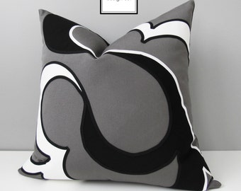 Black White & Grey Outdoor Pillow Cover, Decorative Pillow Cover, Modern Pillow Cover, Gray Abstract Sunbrella Cushion Cover, Mazizmuse