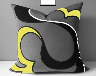 Decorative Grey & Yellow Outdoor Pillow Cover, Modern Abstract Pillow Case, Gray and Buttercup Yellow Sunbrella Cushion Cover, Mazizmuse