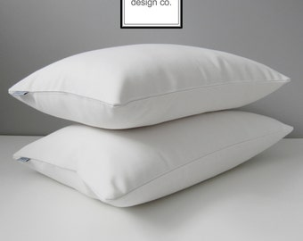 Decorative White Sunbrella Pillow Cover, Modern Outdoor Pillow Cover, Solid White Throw Pillow Cover, White Cushion Cover, Mazizmuse