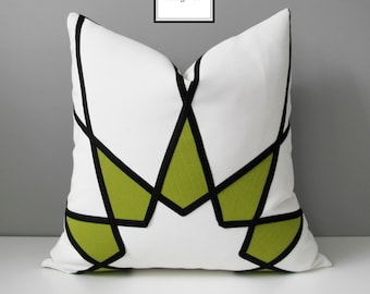 Black & White Outdoor Pillow Cover, Modern Acid Green Cushion Cover, Decorative Art Deco Pillow Cover Greenery Mandala Pillow Case Mazizmuse