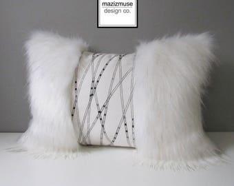 Decorative Faux Fur Pillow, Off White Pillow, Outdoor Indoor Pillow, Luxury Spirit Bear Fur, Glam Pillow, Modern Pillow, Art Deco,Mazizmuse