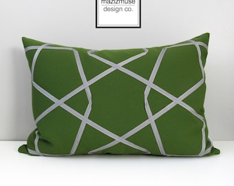 Olive Green & Grey Outdoor Pillow Cover, Geometric Pillow Cover, Decorative Pillow Cover Masculine Sunbrella Cushion Cover Mazizmuse Trellis
