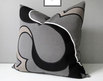 Decorative Taupe & Grey Outdoor Pillow Cover, Modern Sunbrella Pillow Case, Gray Black and White Abstract, Mod Cushion Cover, Mazizmuse