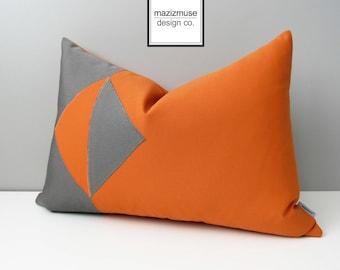 Modern Orange & Grey Outdoor Pillow Cover, Decorative Geometric Color Block, Gray Sunbrella Cushion Cover, Mazizmuse Throw Pillows, Eclipse