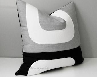 Decorative Pillow Cover, Granite Grey & White Outdoor Pillow Cover, Black Mid Century Modern Pillow Case, Sunbrella Cushion Cover, Mazizmuse