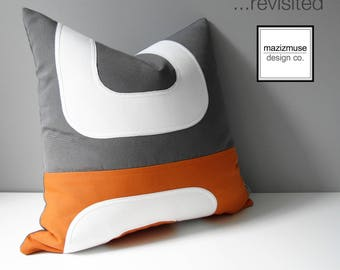 Orange & Grey Outdoor Pillow Cover, Decorative Mid Century Modern Pillow Cover, Color Block Pillow Cover, Gray White Sunbrella Cushion Cover