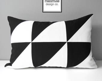 Decorative Black & White Outdoor Pillow Cover, Modern Pillow Cover, Color Block, Art Deco, Geometric Sunbrella Cushion Cover, Mazizmuse
