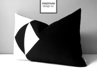 Modern Black & White Outdoor Pillow Cover, Geometric Color Block, Decorative Sunbrella Cushion Cover, Mid Century Modern, Mazizmuse Eclipse