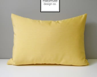 Buttercup Yellow Sunbrella Pillow Cover, Outdoor Pillow Cover, Decorative Pillow Cover, Modern Light Yellow Cushion Cover, Mazizmuse