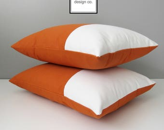 Modern Outdoor Pillow Cover, Decorative Orange & White Color Block Pillow Case, Tuscan Sunbrella Cushion Cover, Throw Pillow Case, Mazizmuse