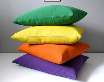 Decorative Outdoor Pillow Cover, Modern Green, Purple, Orange, Acid Yellow, Colorful Sunbrella Cushion Cover, Jewel Tones Throw Pillow Cover