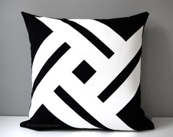 Black White Outdoor Pillow Cover Modern Yellow Geometric Etsy